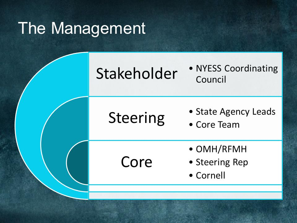 The Management Stakeholder Steering Core NYESS Coordinating Council State Agency Leads Core Team OMH/RFMH Steering Rep Cornell