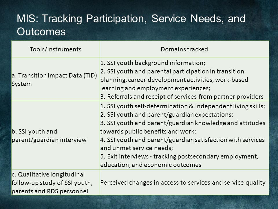 MIS: Tracking Participation, Service Needs, and Outcomes Tools/InstrumentsDomains tracked a.