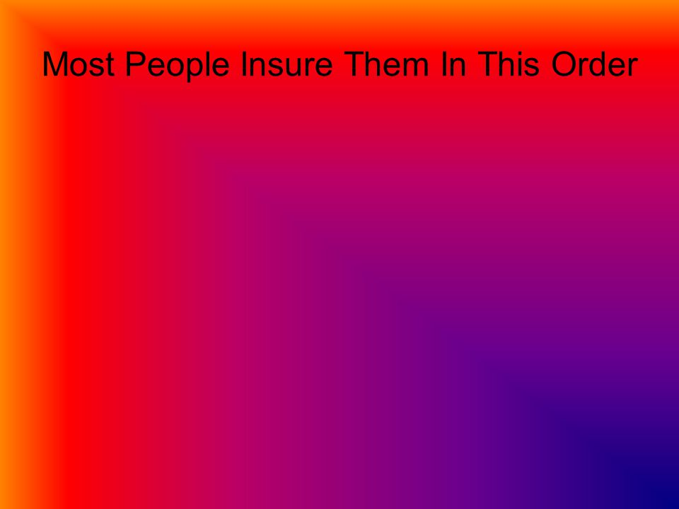 Most People Insure Them In This Order