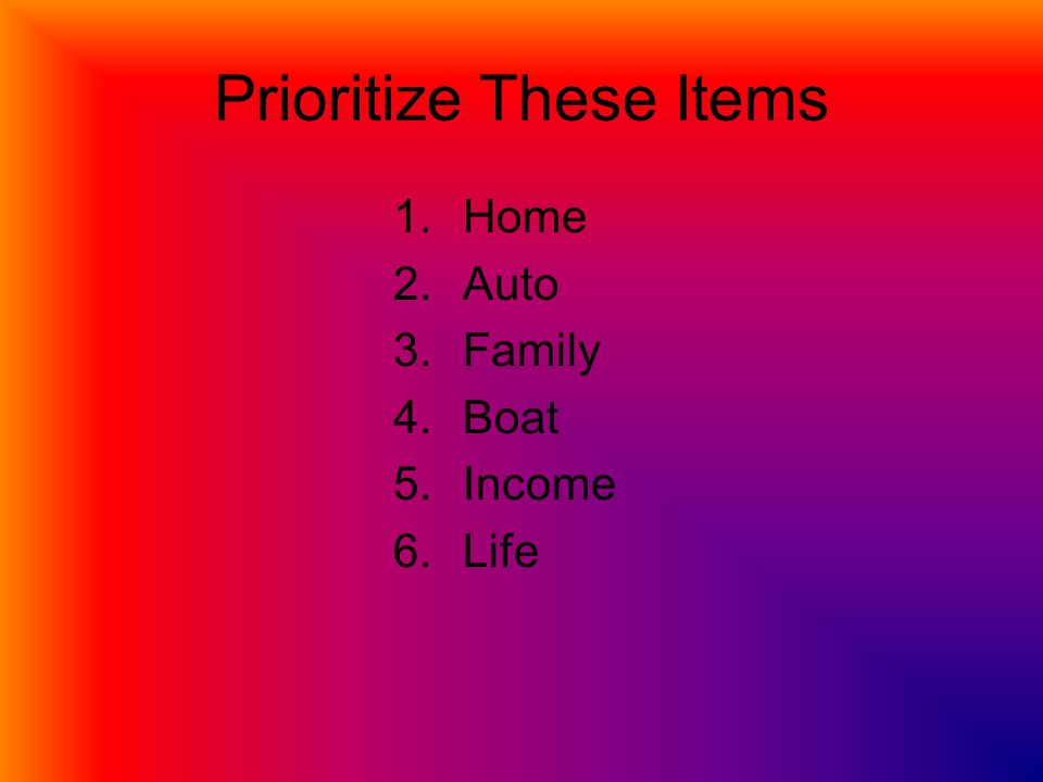 Prioritize These Items 1.Home 2.Auto 3.Family 4.Boat 5.Income 6.Life