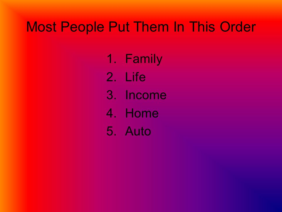 Most People Put Them In This Order 1.Family 2.Life 3.Income 4.Home 5.Auto