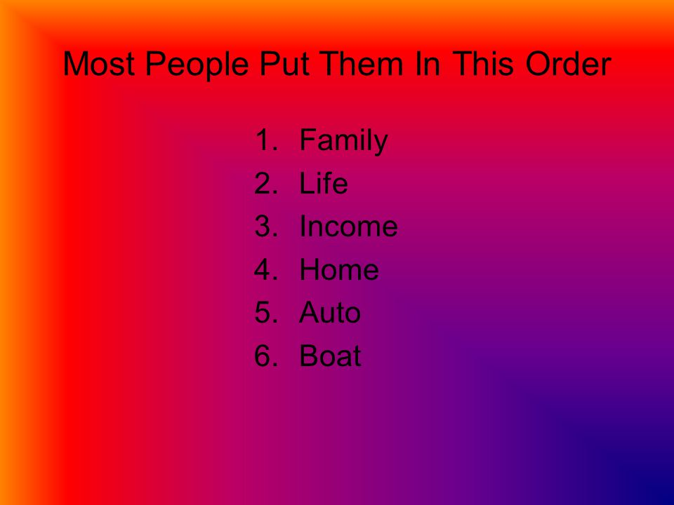 Most People Put Them In This Order 1.Family 2.Life 3.Income 4.Home 5.Auto 6.Boat
