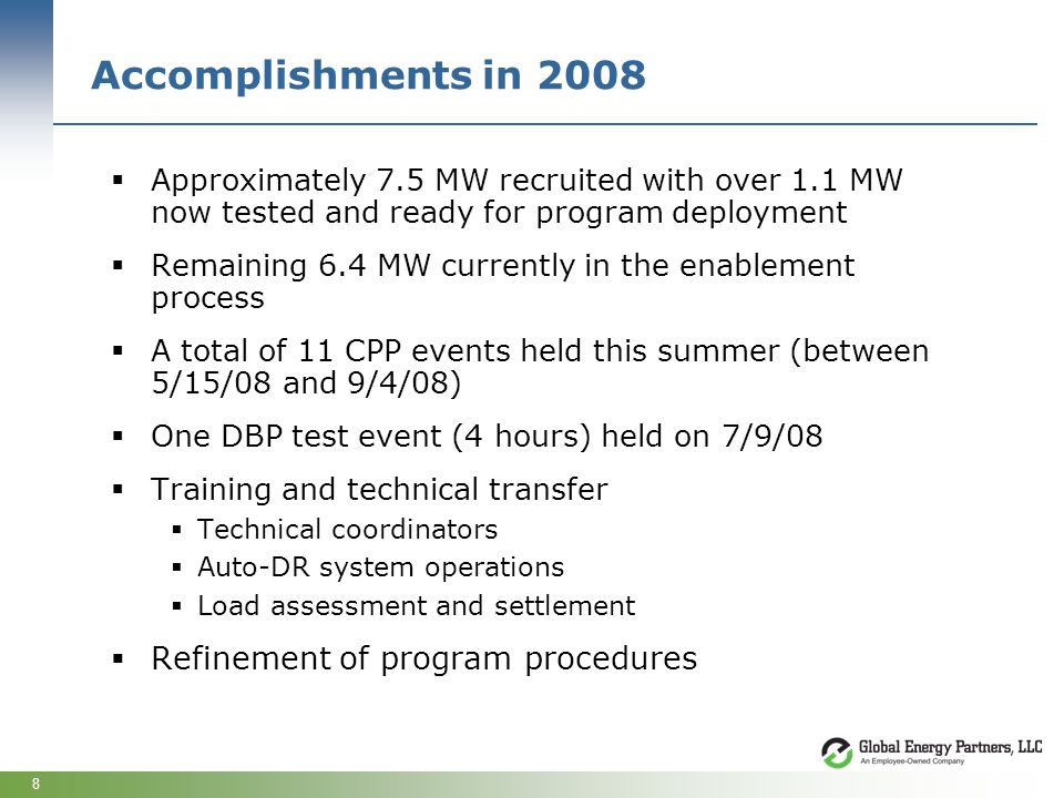 8 Accomplishments in 2008 Approximately 7.5 MW recruited with over 1.1 MW now tested and ready for program deployment Remaining 6.4 MW currently in th