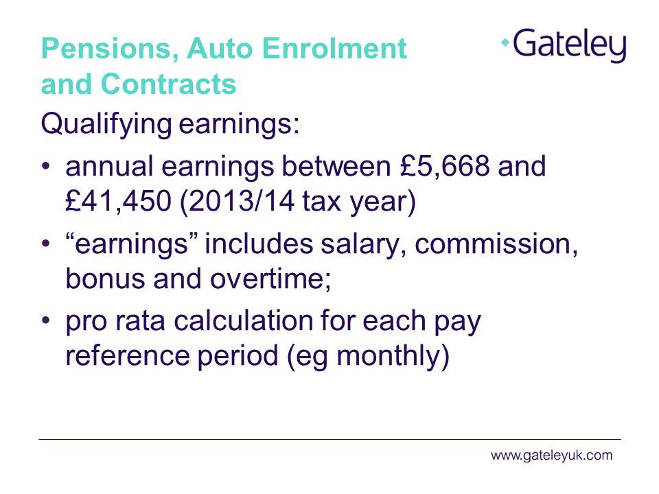 Pensions, Auto Enrolment and Contracts Who needs to be auto-enrolled.