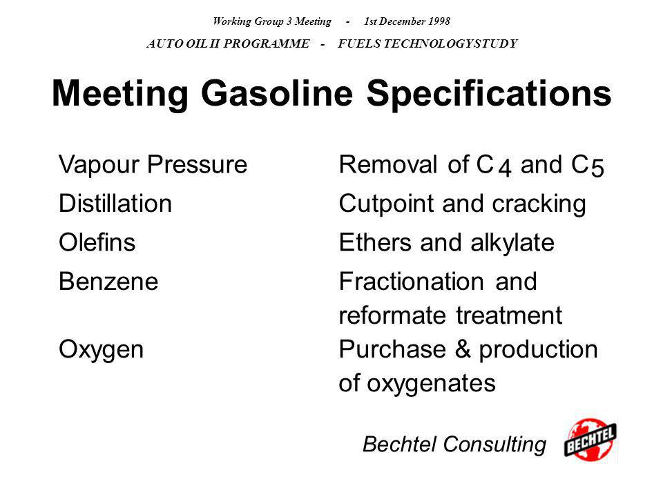 Bechtel Consulting Working Group 3 Meeting - 1st December 1998 AUTO OIL II PROGRAMME - FUELS TECHNOLOGY STUDY Meeting Gasoline Specifications Vapour P