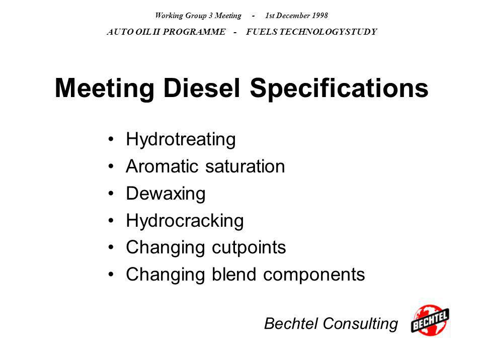 Bechtel Consulting Working Group 3 Meeting - 1st December 1998 AUTO OIL II PROGRAMME - FUELS TECHNOLOGY STUDY Meeting Diesel Specifications Hydrotreat