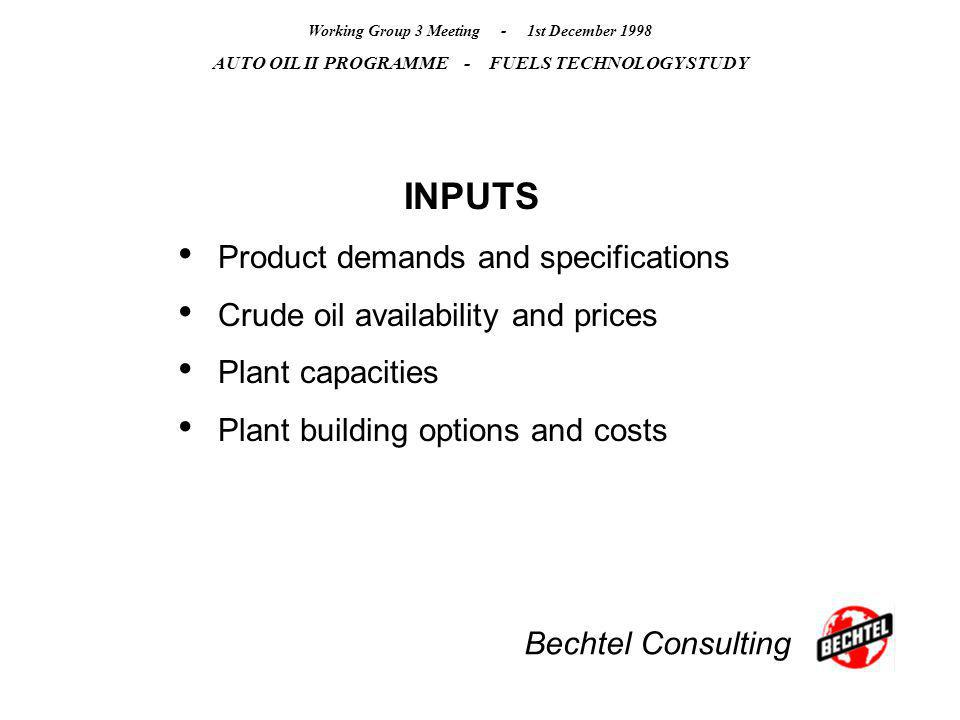 Bechtel Consulting Working Group 3 Meeting - 1st December 1998 AUTO OIL II PROGRAMME - FUELS TECHNOLOGY STUDY INPUTS Product demands and specification