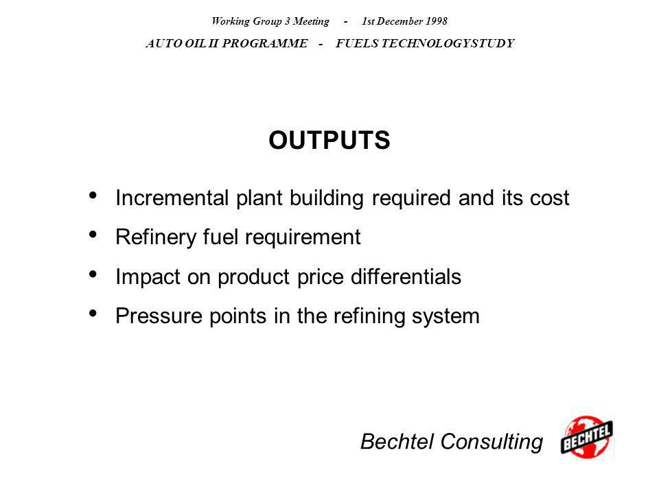 Bechtel Consulting Working Group 3 Meeting - 1st December 1998 AUTO OIL II PROGRAMME - FUELS TECHNOLOGY STUDY OUTPUTS Incremental plant building requi