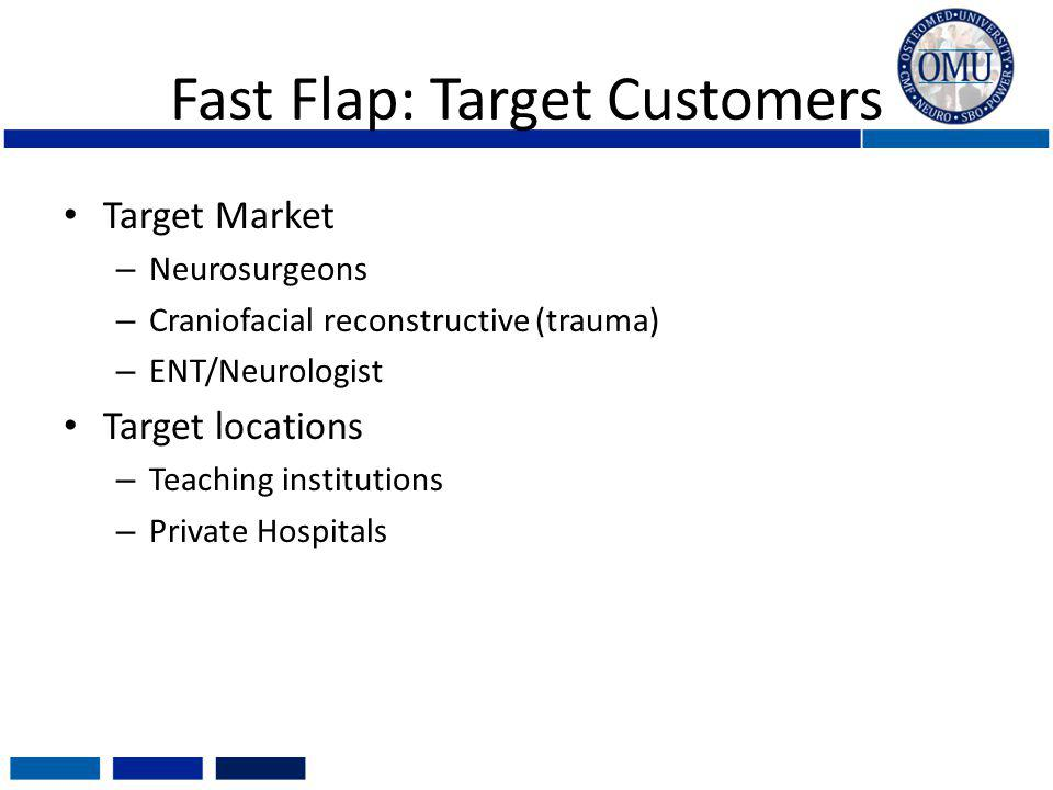 Fast Flap: Target Customers Target Market – Neurosurgeons – Craniofacial reconstructive (trauma) – ENT/Neurologist Target locations – Teaching institutions – Private Hospitals