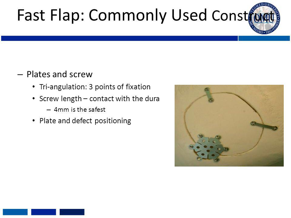 Fast Flap: Commonly Used Construct – Plates and screw Tri-angulation: 3 points of fixation Screw length – contact with the dura – 4mm is the safest Pl