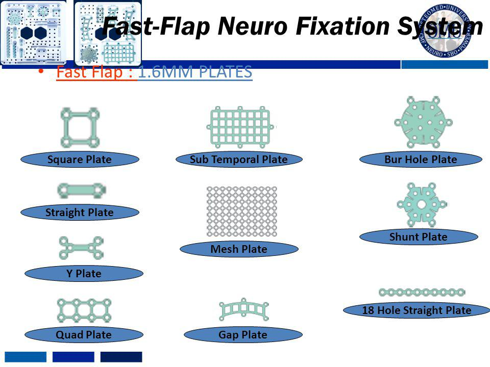 Fast Flap : 1.6MM PLATES Fast-Flap Neuro Fixation System Y Plate Square Plate Straight Plate 18 Hole Straight Plate Sub Temporal PlateBur Hole Plate Q
