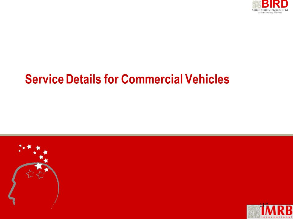 Research-based Consultancy for B2B and technology Markets BIRD 117 Service Details for Commercial Vehicles
