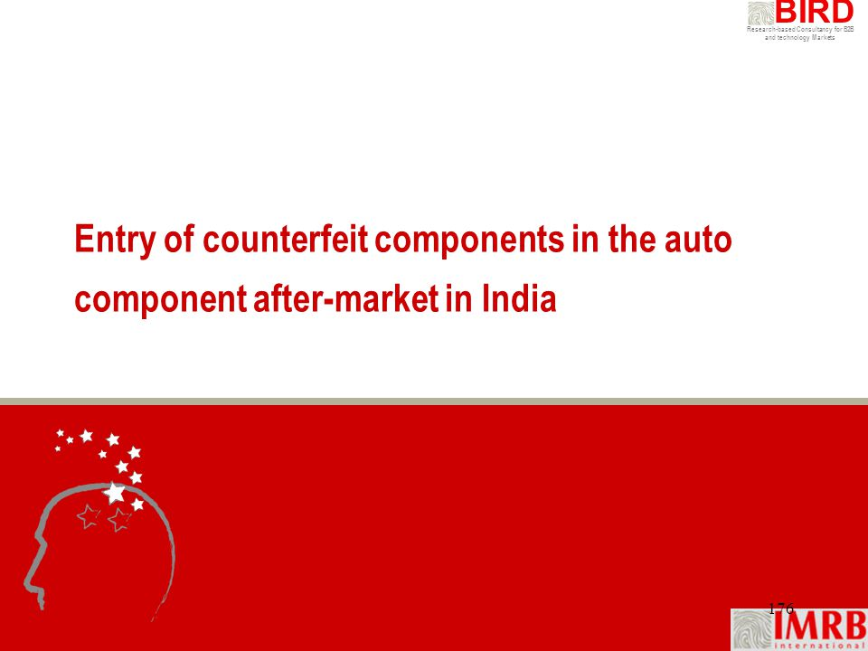 Research-based Consultancy for B2B and technology Markets BIRD 176 Entry of counterfeit components in the auto component after-market in India