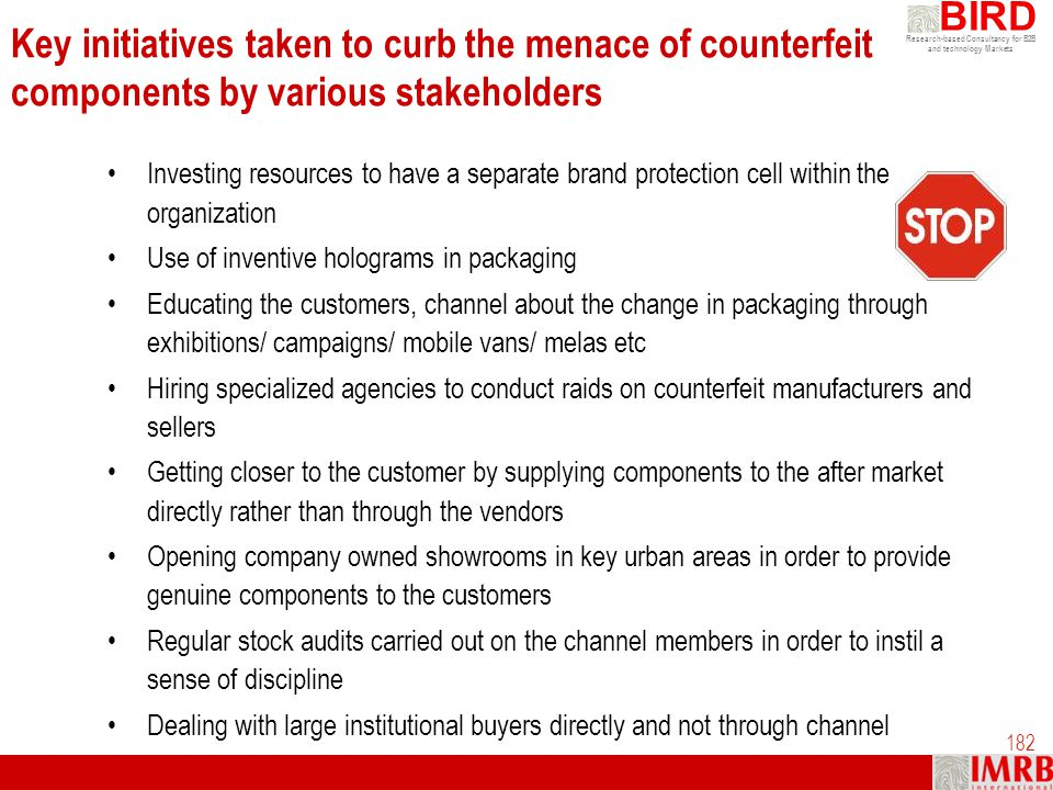 Research-based Consultancy for B2B and technology Markets BIRD 182 Key initiatives taken to curb the menace of counterfeit components by various stake