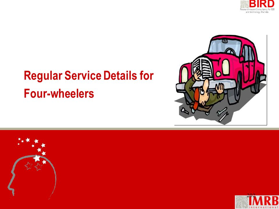 Research-based Consultancy for B2B and technology Markets BIRD 202 Regular Service Details for Four-wheelers