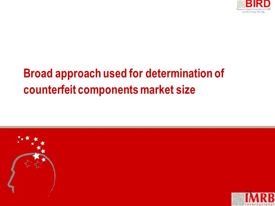 Research-based Consultancy for B2B and technology Markets BIRD 24 Broad approach used for determination of counterfeit components market size