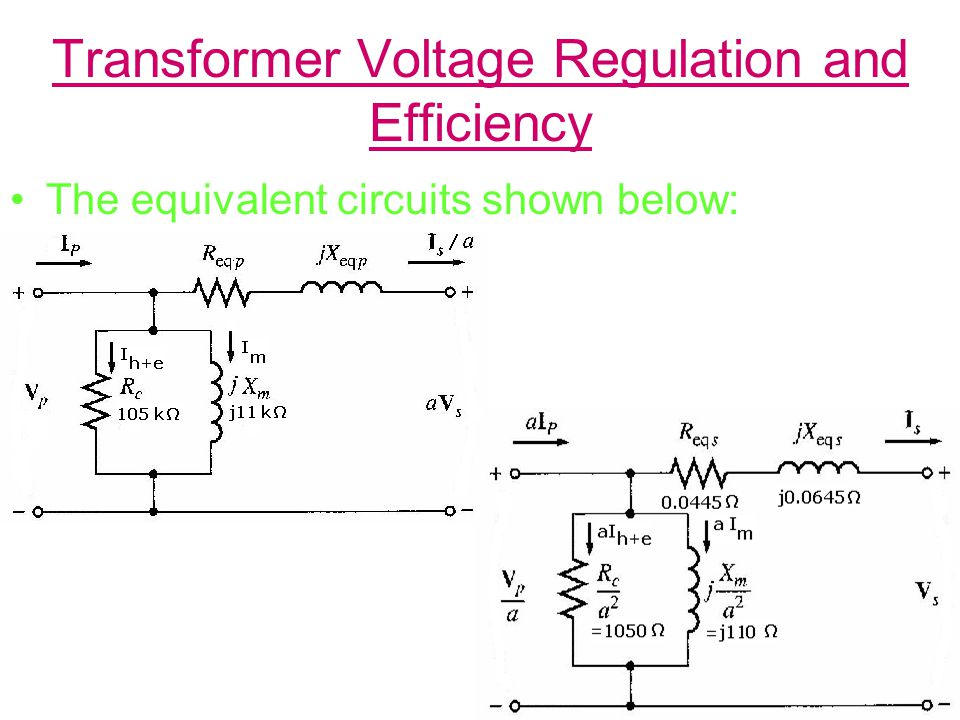 Transformer Voltage Regulation and Efficiency The equivalent circuits shown below:
