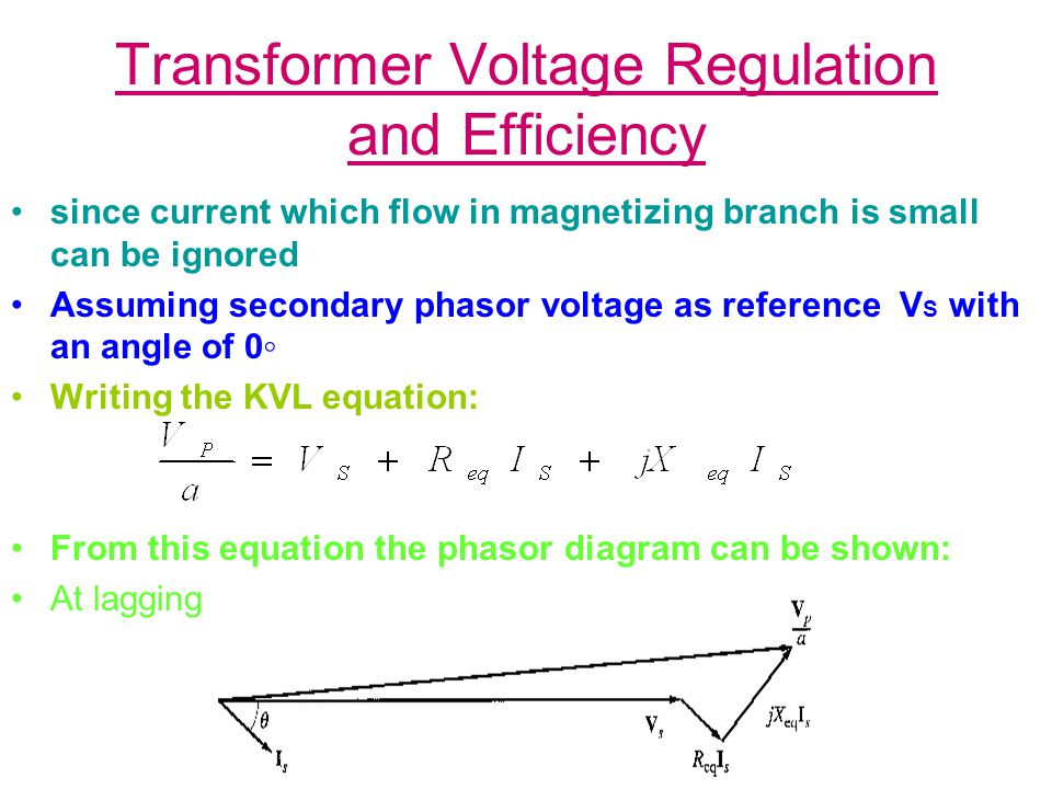 Transformer Voltage Regulation and Efficiency If power factor is unity, V S is lower than V P so V.R.