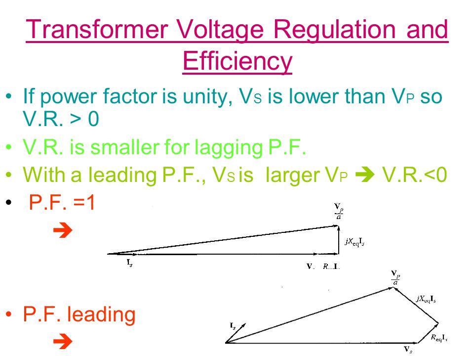 Transformer Voltage Regulation and Efficiency Table Summarize possible Value for V.R.