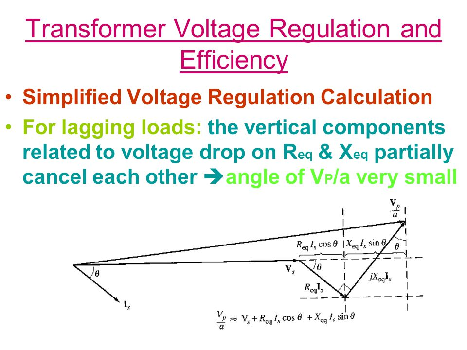 Transformer Voltage Regulation and Efficiency Simplified Voltage Regulation Calculation For lagging loads: the vertical components related to voltage