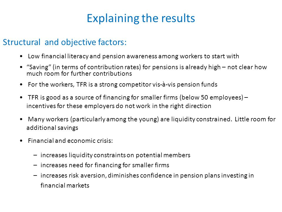 Explaining the results Structural and objective factors: Low financial literacy and pension awareness among workers to start with Saving (in terms of contribution rates) for pensions is already high – not clear how much room for further contributions For the workers, TFR is a strong competitor vis-à-vis pension funds TFR is good as a source of financing for smaller firms (below 50 employees) – incentives for these employers do not work in the right direction Many workers (particularly among the young) are liquidity constrained.