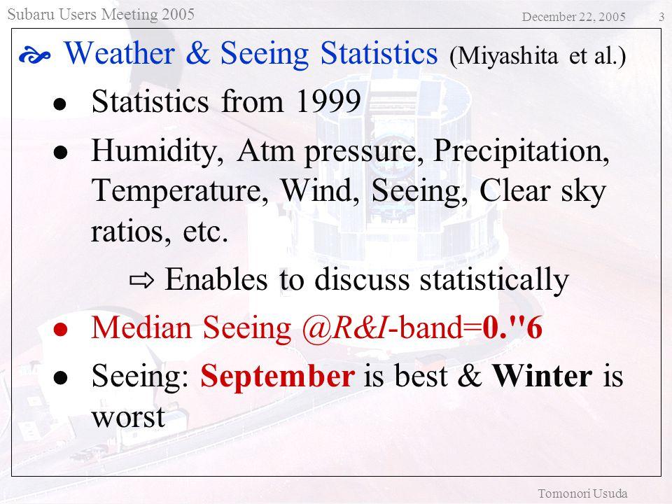 Subaru Users Meeting 2005 December 22, 2005 Tomonori Usuda 4 Clear Sky Ratio (1999 - 2005) Clear=1, Cirrus=0.5, High RH/Cloudy=0