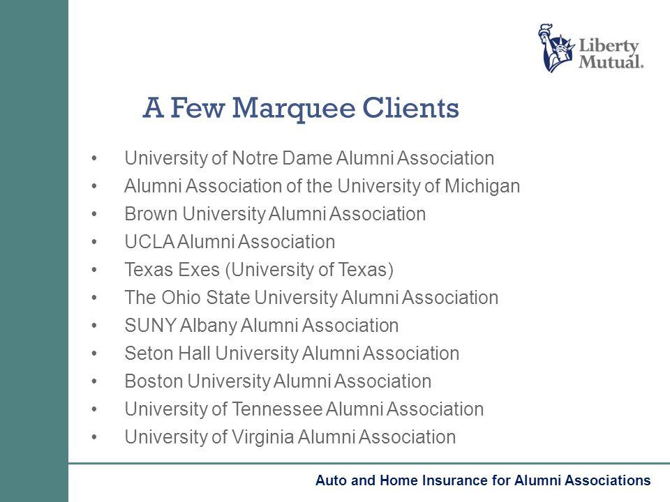 University of Notre Dame Alumni Association Alumni Association of the University of Michigan Brown University Alumni Association UCLA Alumni Associati