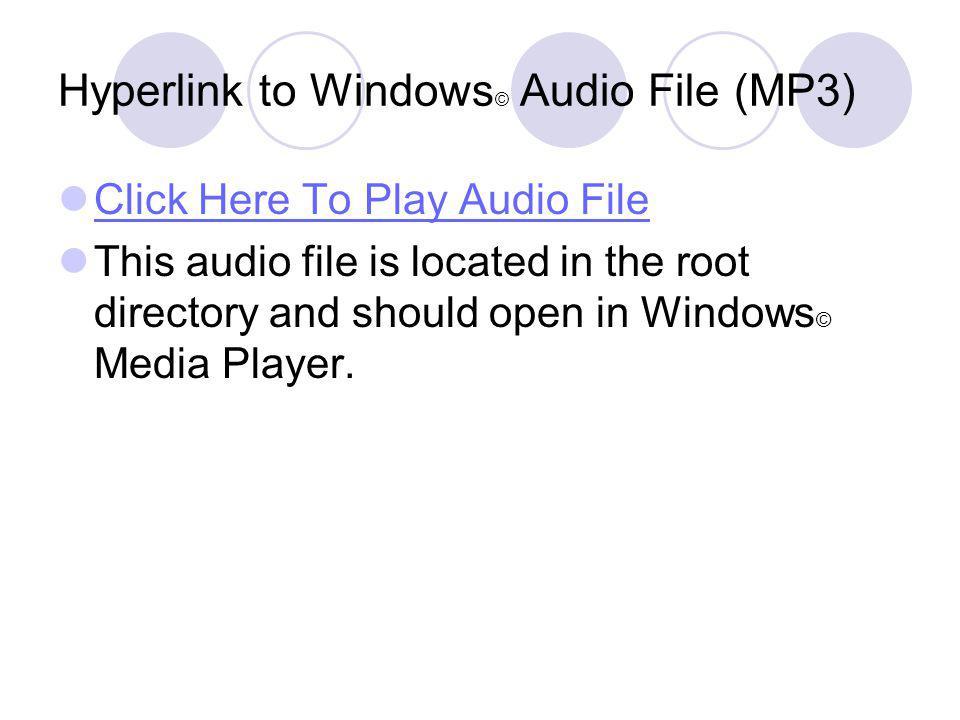 Insert RealPlayer Object (Video) Same as the previous slide but using a HTTP hyperlink and RAMGEN on Schubert.