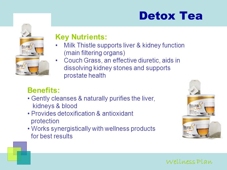 Detox Tea Key Nutrients: Milk Thistle supports liver & kidney function (main filtering organs) Couch Grass, an effective diuretic, aids in dissolving