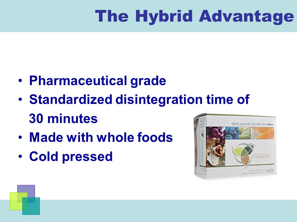 The Hybrid Advantage Pharmaceutical grade Standardized disintegration time of 30 minutes Made with whole foods Cold pressed