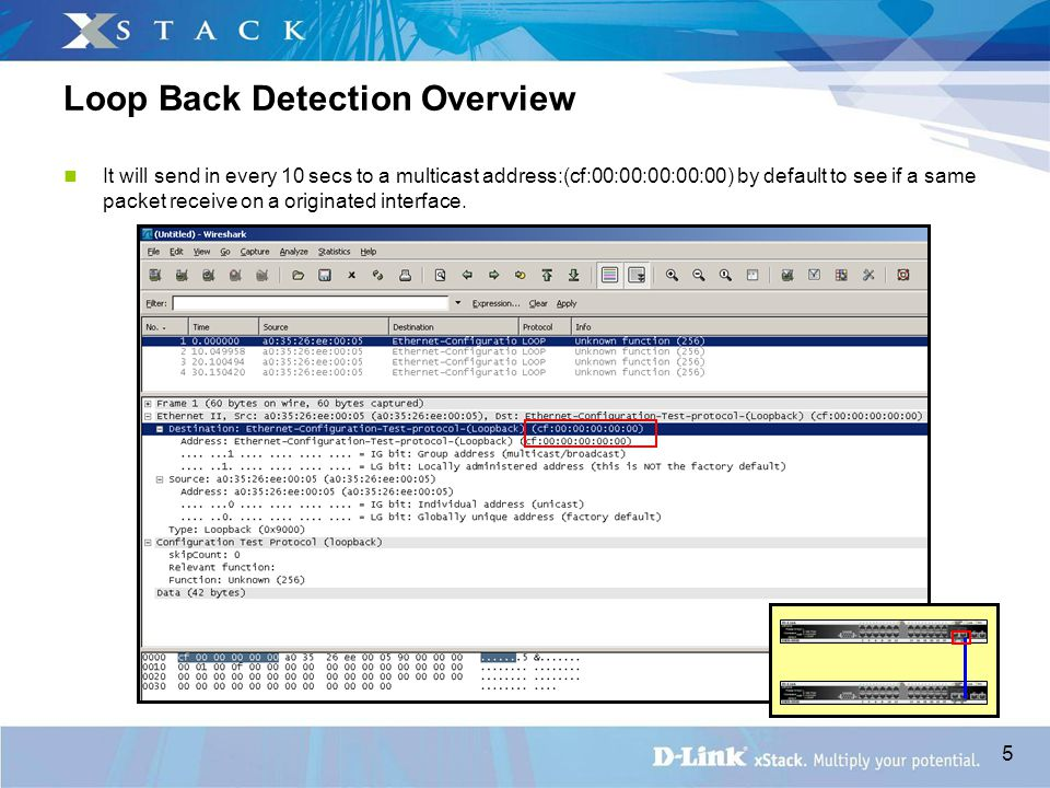 5 Loop Back Detection Overview It will send in every 10 secs to a multicast address:(cf:00:00:00:00:00) by default to see if a same packet receive on