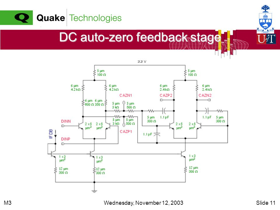 Wednesday, November 12, 2003Slide 11M3 DC auto-zero feedback stage