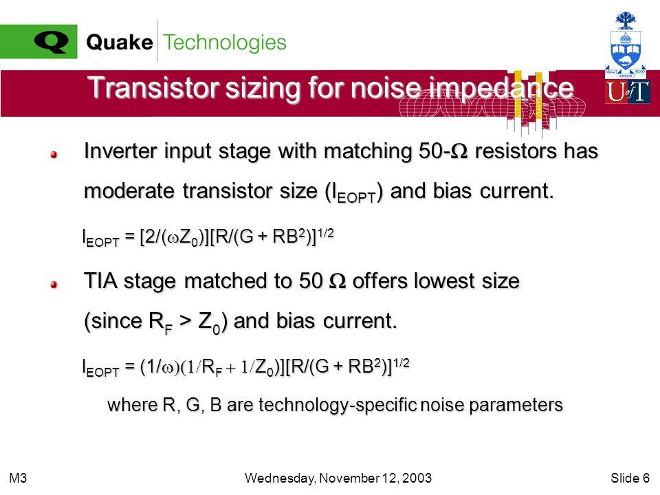 Wednesday, November 12, 2003Slide 6M3 Transistor sizing for noise impedance Inverter input stage with matching 50- resistors has moderate transistor s