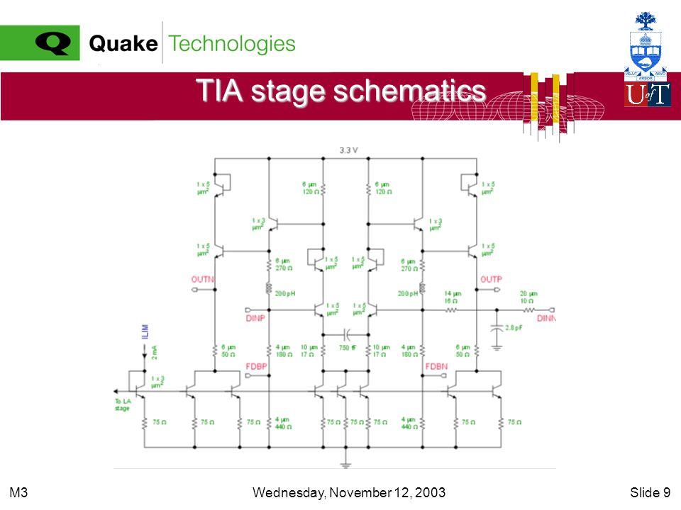 Wednesday, November 12, 2003Slide 9M3 TIA stage schematics