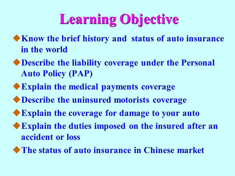 Part C Uninsured Motorists Coverage The uninsured motorists coverage pays for the bodily injury (and property damage in some states) caused by an uninsured motorist, by a hit- and-run driver, or by a negligent driver whose insurance company is insolvent.