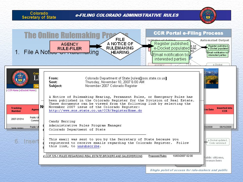Colorado Secretary of State e-FILING COLORADO ADMINISTRATIVE RULES The Online Rulemaking Process 1.File A Notice Of Rulemaking 2.File An Attorney General Opinion Request 3.File Attorney General Opinion 4.File Administrative Rule 5.Download And Review of Rule by OLLS 6.Insert Rule Into Code