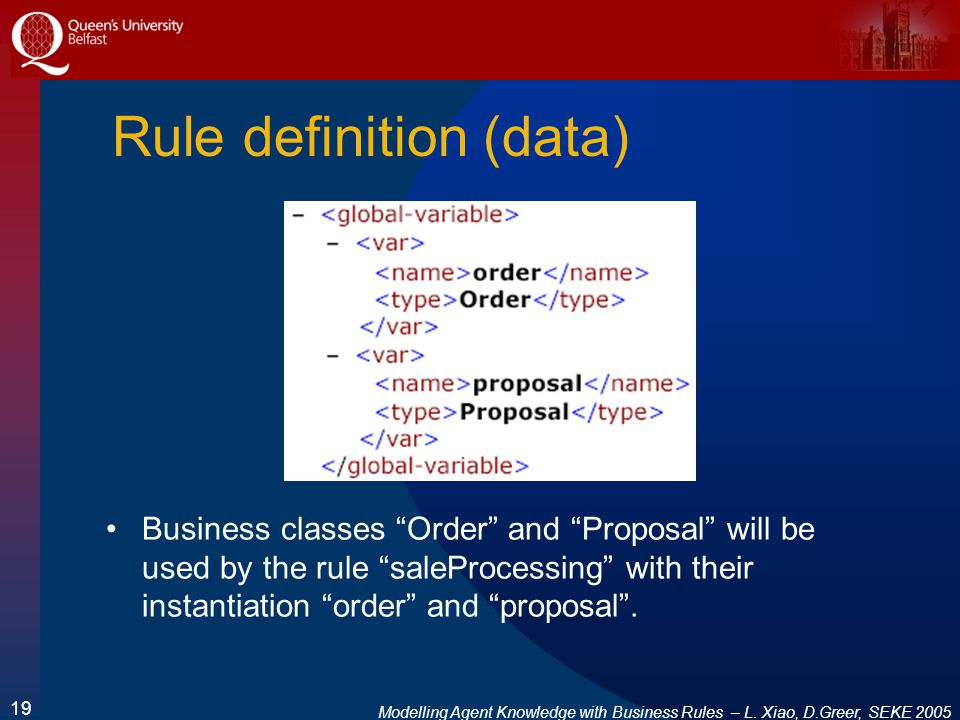 Modelling Agent Knowledge with Business Rules – L. Xiao, D.Greer, SEKE 2005 19 Rule definition (data) Business classes Order and Proposal will be used