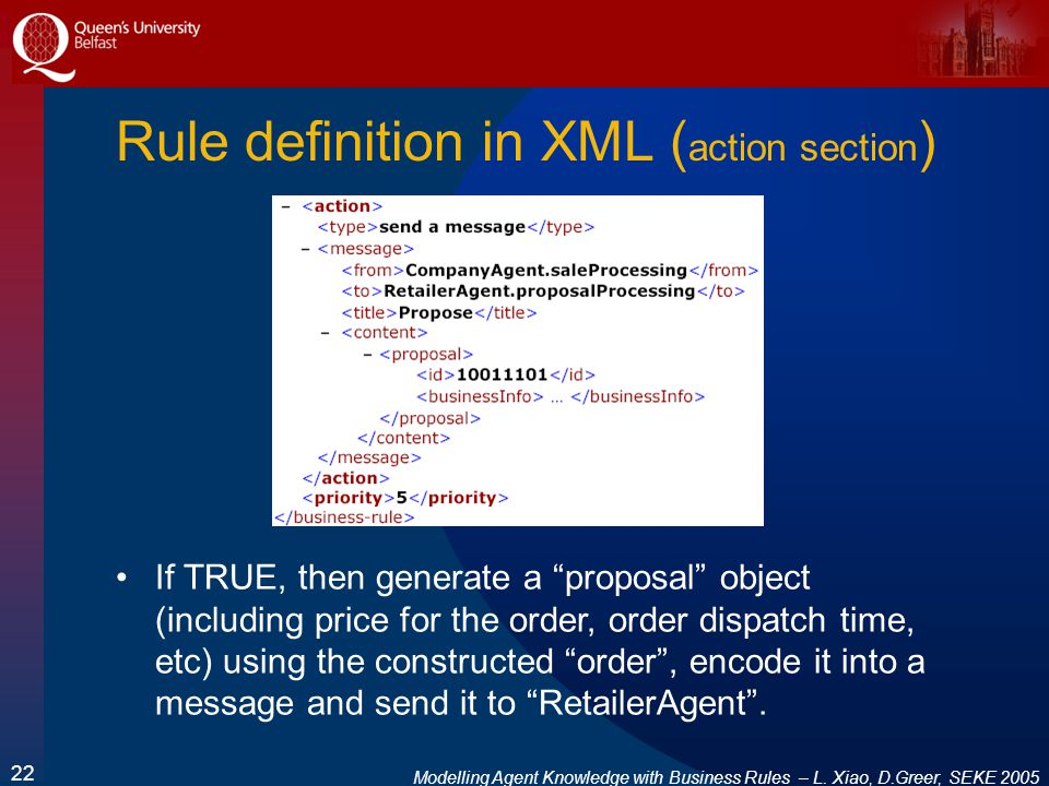 Modelling Agent Knowledge with Business Rules – L. Xiao, D.Greer, SEKE 2005 22 Rule definition in XML ( action section ) If TRUE, then generate a prop