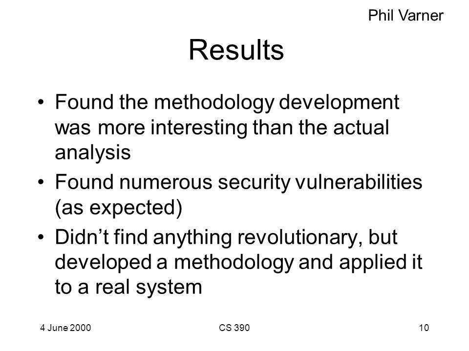 4 June 2000CS 3909 Project Developed FaSSAMM - Fairly Simple Security Analysis and Modeling Methodology Combines several analysis tools - attack trees
