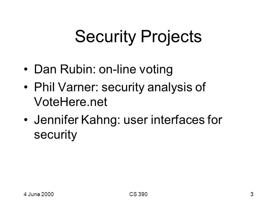 4 June 2000CS 3902 Menu Security –Dan Rubin: Online Voting Security –Phil Varner: Voting analysis –Jennifer Kahng: User Interfaces for Security Web –J