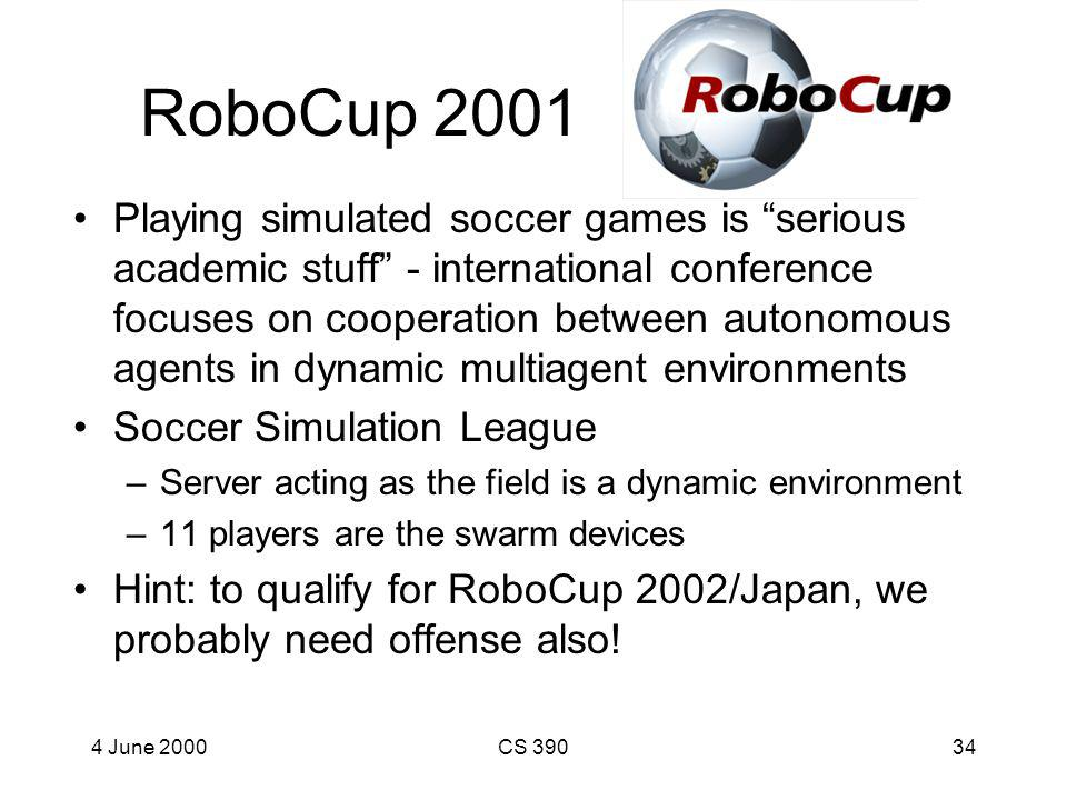 4 June 2000CS 39033 Swarming Defense Adam Trost Simulate Soccer Defense as a Swarm Program: –Defensive tactics describe desired global properties (e.g