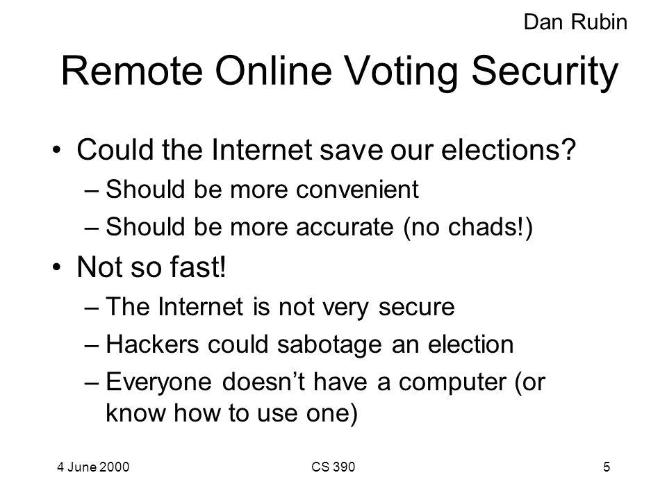 4 June 2000CS 3904 Remote Online Voting Security Daniel Rubin, rubin@virginia.edu Does this look familiar?