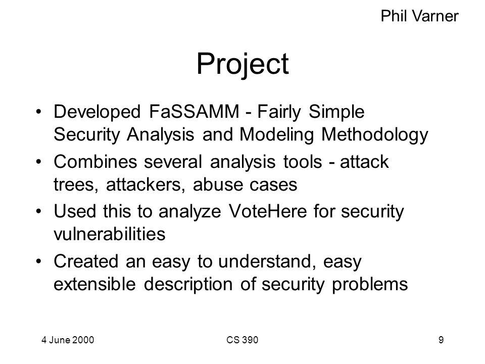 4 June 2000CS 3908 Vote Early, Vote Often, VoteHere: A Security Analysis of VoteHere Phil Varner How can we assess the security of an on-line voting s
