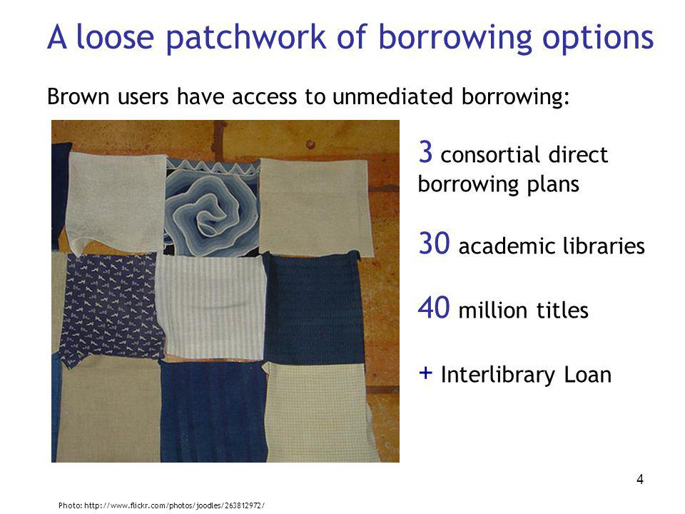 4 A loose patchwork of borrowing options Brown users have access to unmediated borrowing: 3 consortial direct borrowing plans 30 academic libraries 40 million titles + Interlibrary Loan Photo: http://www.flickr.com/photos/joodles/263812972/
