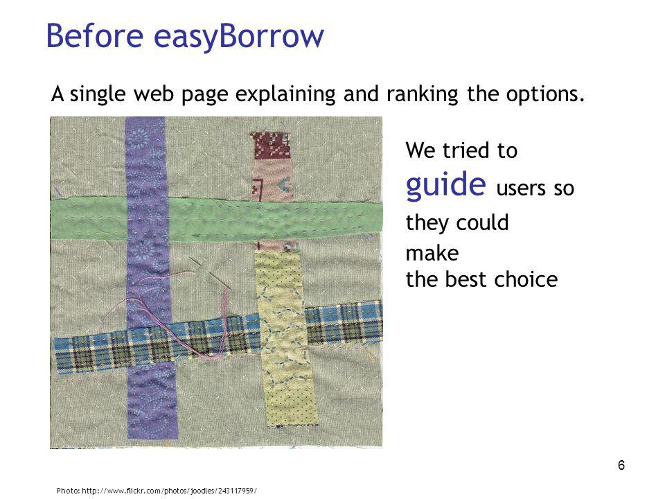 6 Before easyBorrow A single web page explaining and ranking the options.