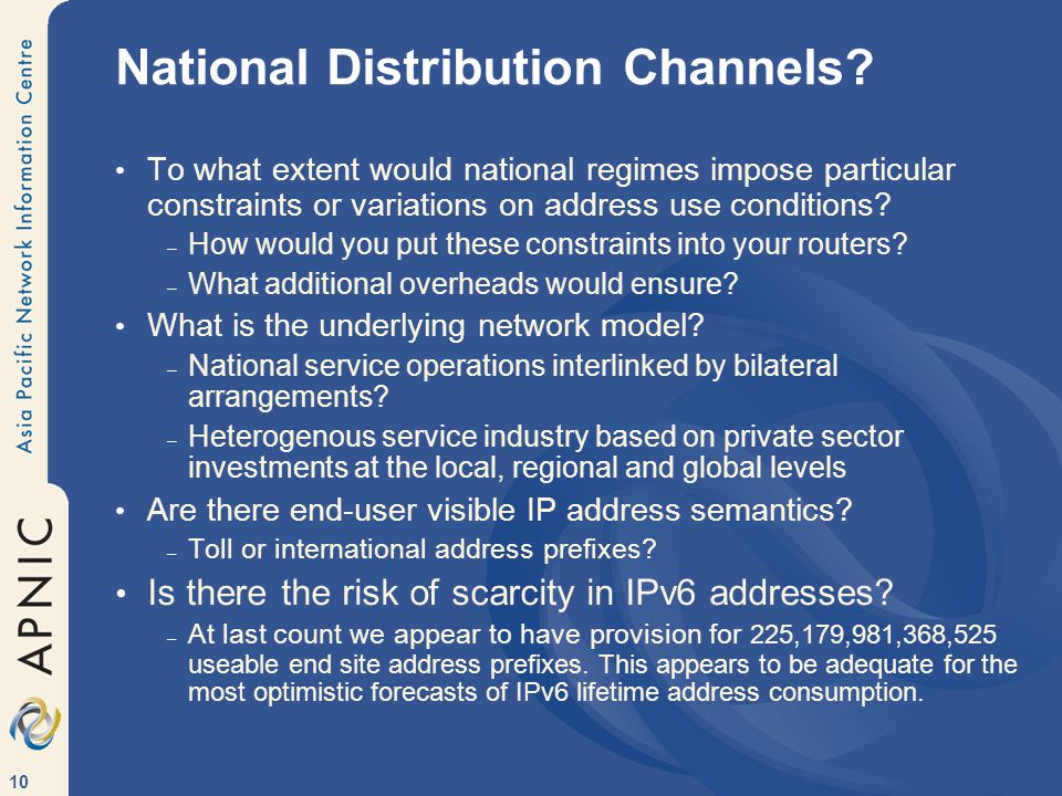 10 National Distribution Channels.
