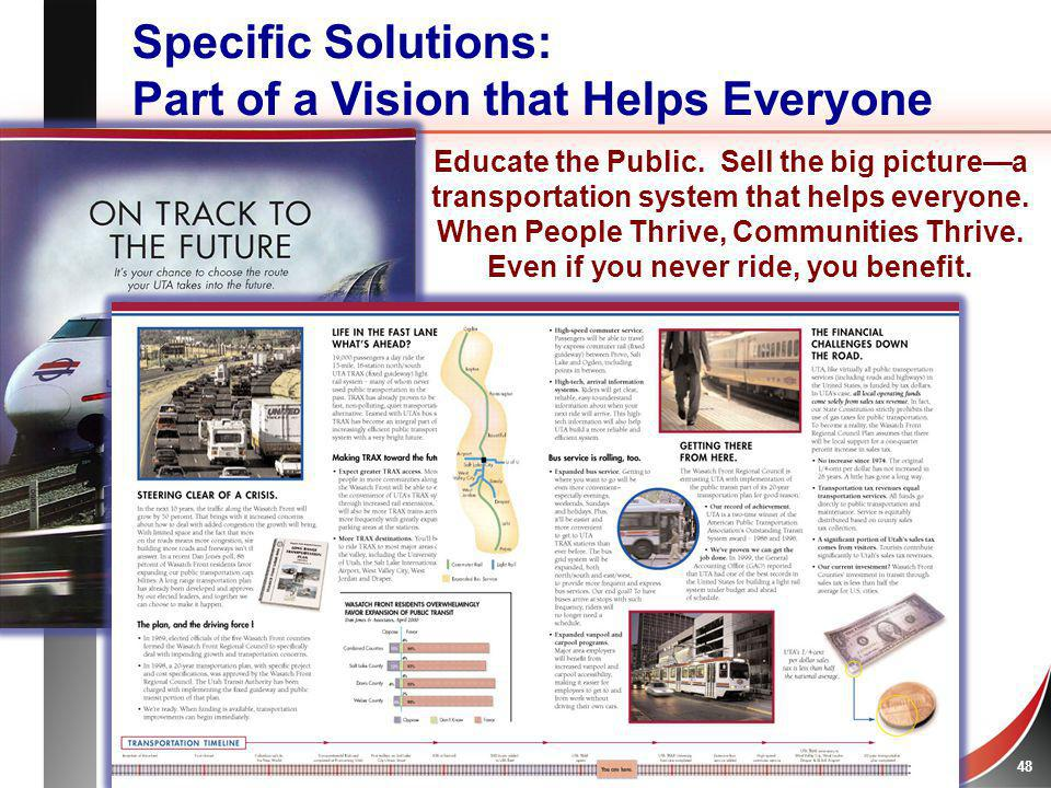 Heart + Mind STRATEGIES 49 Specific Solutions: Part of the Peoples Vision Educate the Public.