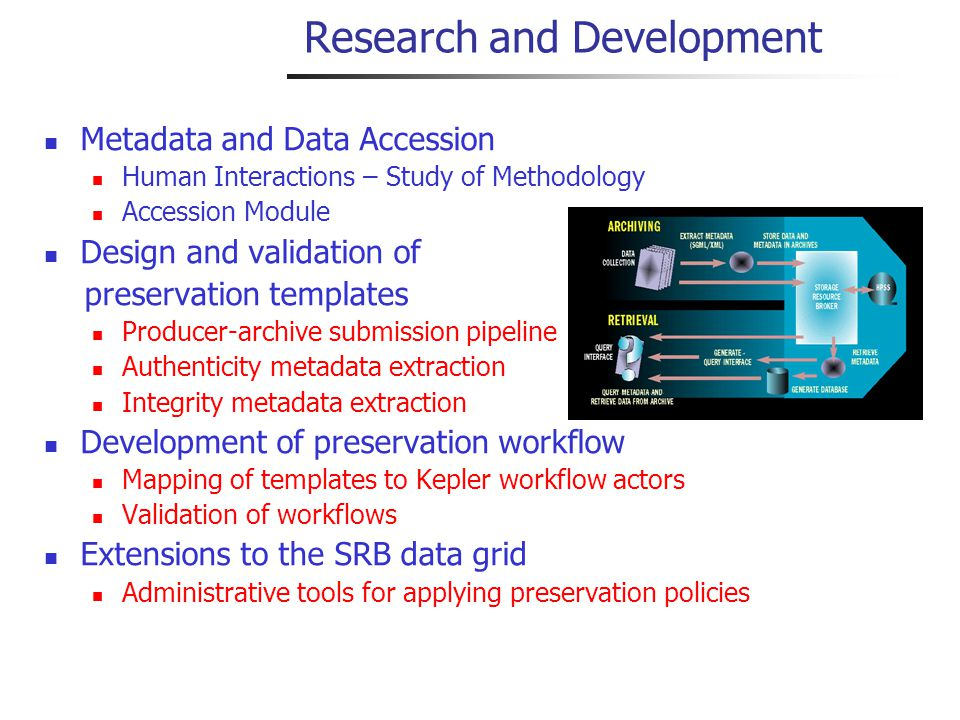 Research and Development Metadata and Data Accession Human Interactions – Study of Methodology Accession Module Design and validation of preservation templates Producer-archive submission pipeline Authenticity metadata extraction Integrity metadata extraction Development of preservation workflow Mapping of templates to Kepler workflow actors Validation of workflows Extensions to the SRB data grid Administrative tools for applying preservation policies