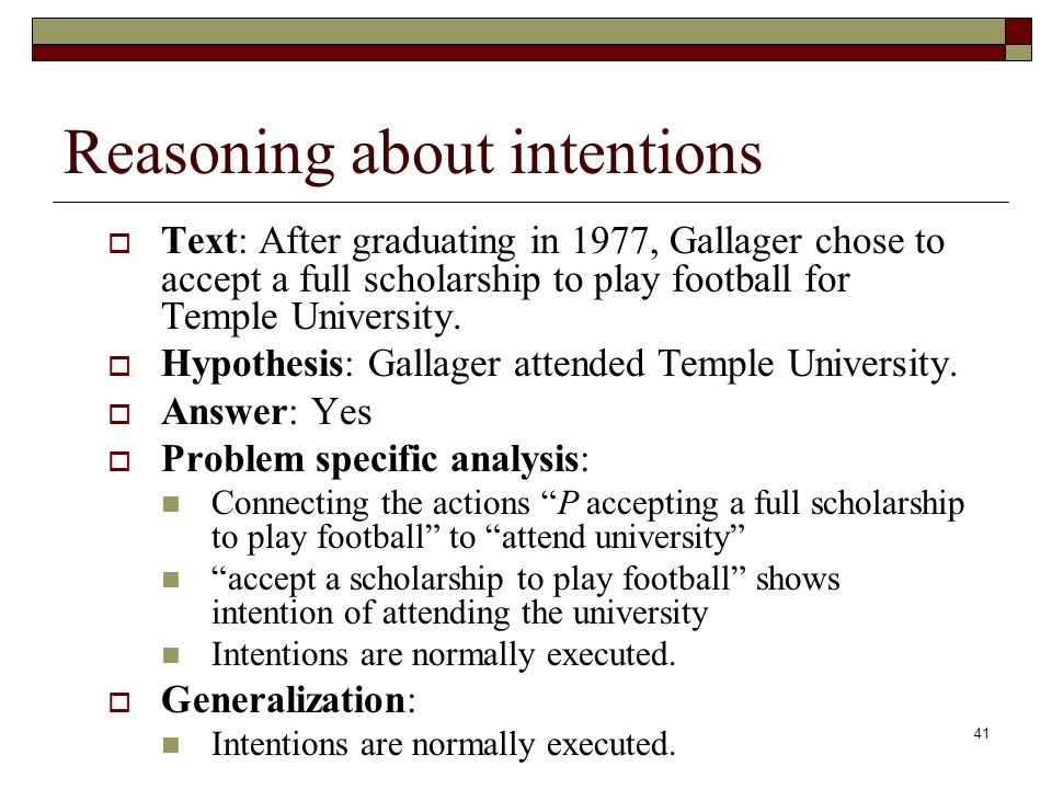 41 Reasoning about intentions Text: After graduating in 1977, Gallager chose to accept a full scholarship to play football for Temple University.