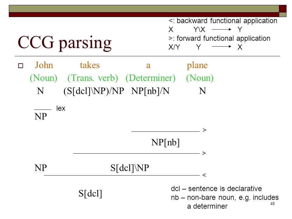 48 CCG parsing John takes a plane (Noun) (Trans. verb) (Determiner) (Noun) N (S[dcl]\NP)/NP NP[nb]/N N NP NP[nb] NP S[dcl]\NP S[dcl] lex > > < <: back